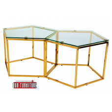 31-059-G GOLD HONEYCOMB COFFEE TABLE