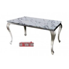 34-059 TUSK SILVER GREY MARBLE LOOK GLASS DINING TABLE
