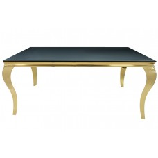 34-059-G  GOLD TUSK BLACK GLASS TOP DINING TABLE