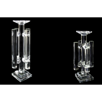 Y-167 CLEAR GLASS CANDLE HOLDER