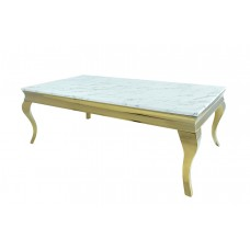 53-164 TUSK FAUX MARBLE TOP AND GOLD LEGS COFFEE TABLE