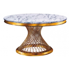 53-166 ATLAS GOLD MARBLE TOP AND GOLD BASE DINING TABLE