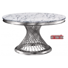 53-169 ATLAS SILVER THICK ART MARBLE TOP DINING TABLE