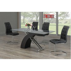 T-1046 GLASS TOP DINING TABLE WITH BLACK LEG