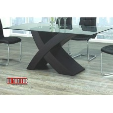 """T-1092 TEMPERED GLASS TOP DINING TABLE """"X"""" SHAPE BLACK BASE"""