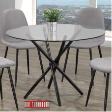 T-1429 ROUND GLASS TOP DINING TABLE WITH BLACK METAL LEGS
