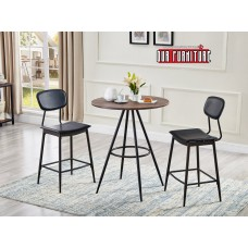IF-1073 DISTRESSED WOOD TABLE +2 CHAIRS