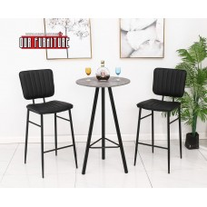 IF-1816 GREY TOP PUB TABLE+2 CHAIRS