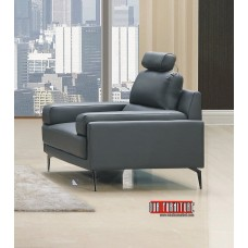 IF-8026  GREY LEATHER  MATCH LOVE SEAT