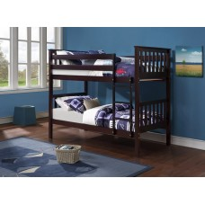 B-101-E  ESPRESSO WOODEN TWIN/TWIN BUNK BED CONVERTS INTO TWO BEDS