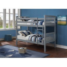 B-101-G  GREY WOODEN TWIN/TWIN BUNK BED CONVERTS INTO TWO BEDS