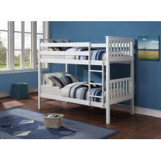 B-101-W  WHITE WOODEN TWIN/TWIN BUNK BED CONVERTS INTO TWO BEDS
