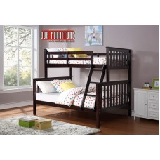 B-102-E  ESPRESSO WOODEN TWIN/FULL BUNK BED CONVERTS INTO TWO BEDS