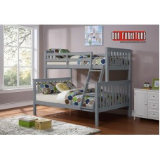 B-102-G  GREY WOODEN TWIN/FULL BUNK BED CONVERTS INTO TWO BEDS