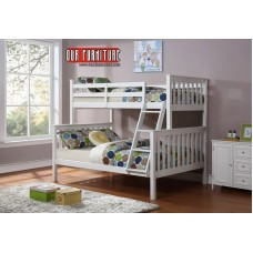 B-102- W  WHITE WOODEN TWIN/FULL BUNK BED CONVERT INTO TWO BEDS