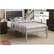 IF-112 SILVER METAL FRAME WITH BLACK WOOD PANELS SINGLE,DOUBLE,QUEEN BED