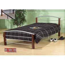 IF-127 SILVER METAL SINGLE,DOUBLE,QUEEN BED WITH DARK CHERRY POSTS
