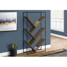 "I 2202 BOOKCASE - 60""H / BROWN RECLAIMED WOOD-LOOK / BLACK METAL"