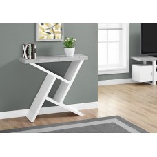 """I 2405 ACCENT TABLE - 36""""L / WHITE / CEMENT-LOOK HALL CONSOLE"""