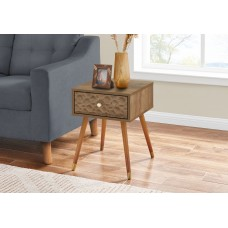 """I 2837 ACCENT TABLE - 20""""H / WALNUT MID-CENTURY WITH A DRAWER"""