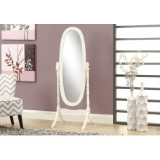 "I 3102 MIRROR - 59""H / ANTIQUE WHITE OVAL WOOD FRAME"