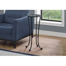 I 3332 ACCENT TABLE - HAMMERED BLACK METAL WITH TEMPERED GLASS