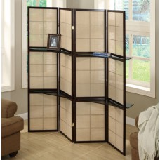 I 4624 FOLDING SCREEN - 4 PANEL / CAPPUCCINO / 2 DISPLAY SHELVES in stock