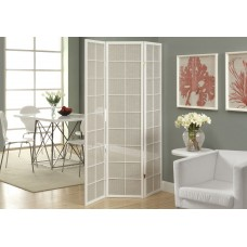 I 4633 FOLDING SCREEN - 3 PANEL / WHITE FRAME WITH FABRIC INLAY
