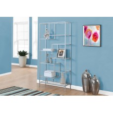 """I 7158 BOOKCASE - 72""""H / SILVER METAL WITH TEMPERED GLASS"""
