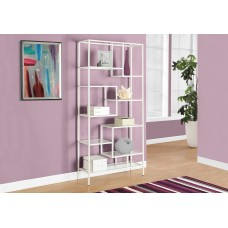"""I 7159 BOOKCASE - 72""""H / WHITE METAL WITH TEMPERED GLASS"""