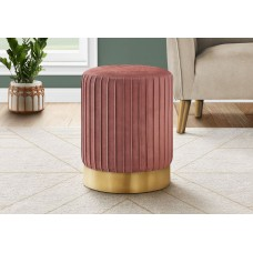 I 9017 OTTOMAN - DARK PINK VELVET / GOLD METAL BASE