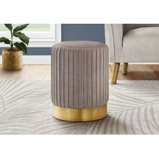 I 9018 OTTOMAN - LIGHT BROWN VELVET / GOLD METAL BASE