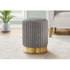 I 9020 OTTOMAN - GREY VELVET / GOLD METAL BASE