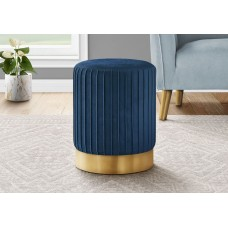 I 9021 OTTOMAN - BLUE VELVET / GOLD METAL BASE