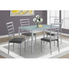 I 1026 DINING SET - 5PCS SET / SILVER / FROSTED TEMPERED GLASS