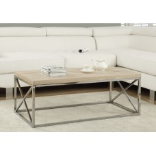 I 3208 COFFEE TABLE - NATURAL WITH CHROME METAL