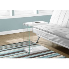 I 3215 ACCENT TABLE - GLOSSY WHITE WITH TEMPERED GLASS