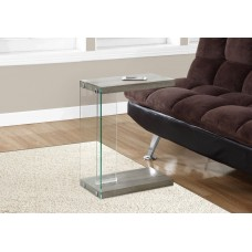 I 3217 ACCENT TABLE - DARK TAUPE WITH TEMPERED GLASS