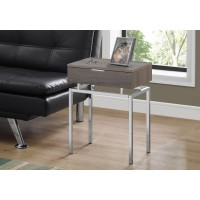"""I 3465 ACCENT TABLE - 24""""H / DARK TAUPE / CHROME METAL"""
