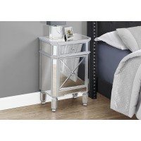 """I 3731 ACCENT TABLE - 28""""H / MIRROR / SILVER WITH STORAGE"""