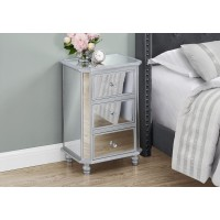 """I 3732 ACCENT TABLE - 28""""H / MIRROR / SILVER WITH STORAGE"""