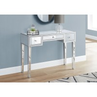 """I 3735 ACCENT TABLE - 42""""L / MIRROR / SILVER WITH STORAGE"""