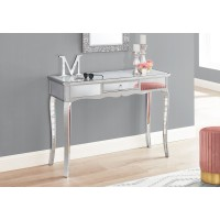 """I 3736 ACCENT TABLE - 42""""L / MIRROR / SILVER WITH STORAGE"""