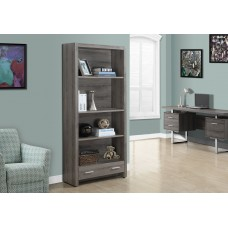 """I 7087 BOOKCASE - 71""""H / DARK TAUPE WITH A STORAGE DRAWER"""