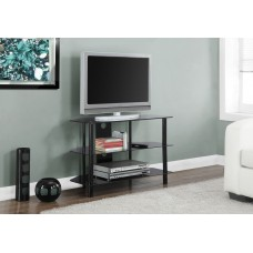"""I 2506 TV STAND - 36""""L / BLACK METAL WITH TEMPERED BLACK GLASS"""