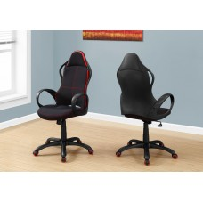 I 7259 OFFICE CHAIR - BLACK / RED FABRIC / MULTI POSITION