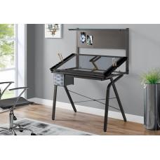 I 7034 DRAFTING TABLE - ADJUSTABLE / GREY METAL / TEMPERED GLASS