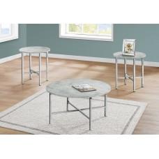 I 7966 P TABLE SET - 3PCS SET / GREY CEMENT / CHROME METAL