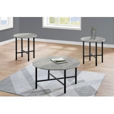 I 7968 P TABLE SET - 3PCS SET / GREY RECLAIMED WOOD / BLACK METAL