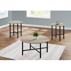 I 7969 P TABLE SET - 3PCS SET / TAUPE RECLAIMED WOOD / BLACK METAL